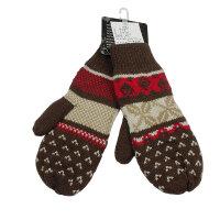 新品冬季女士毛线手套 针织手套可爱雪花图双层保暖km2993