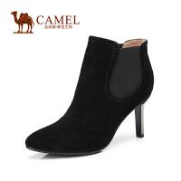 camel骆驼女鞋 简约 秋冬款羊绒松紧带小尖头细高跟短靴