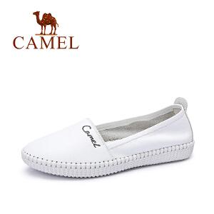 camel骆驼女鞋 休闲舒适 牛皮圆头乐福鞋单鞋春夏休闲小白鞋