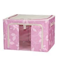 牛津布百纳箱 收纳箱 有盖铁架整理箱 车载收纳盒 55L粉色树叶JJAB06-22
