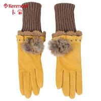 kenmont猪绒皮手套 女士冬季保暖分指手套加厚长款时尚女手套4908