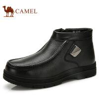 camel骆驼男靴时尚休闲牛皮男靴侧拉链金属 冬季新款皮靴82266600