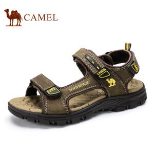 camel骆驼户外男鞋新款 头层牛皮休闲沙滩鞋魔术贴凉鞋男
