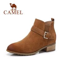 Camel/骆驼短靴 欧美纯色短筒靴扣带女靴休闲靴子