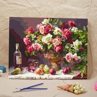 数字油画特价 客厅风景花卉情侣手绘装饰画壁画 玫瑰之约 40*50CM