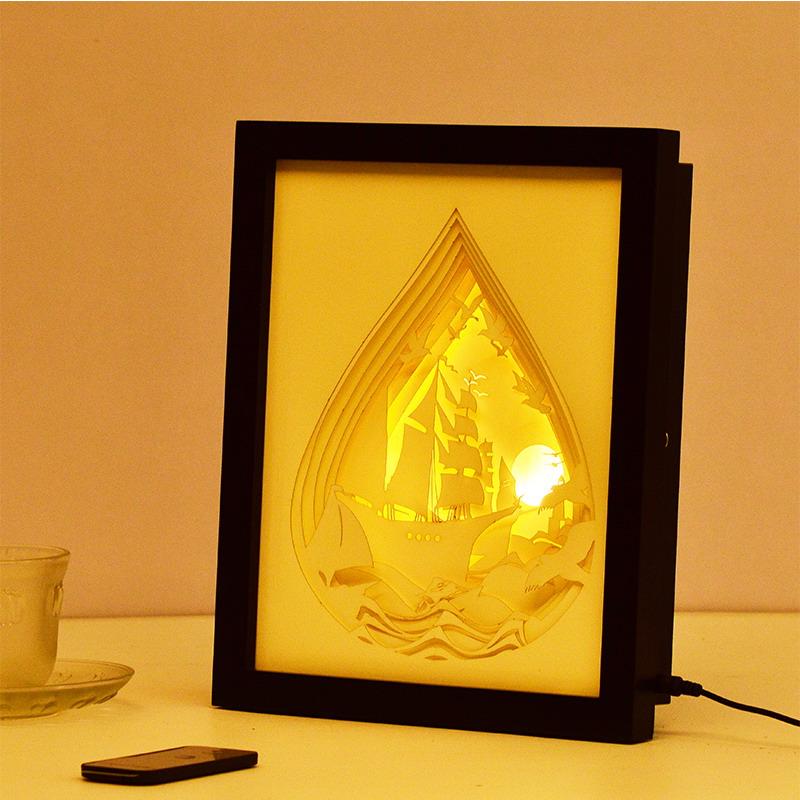 艾嘉居 3d立体光影工艺纸雕台灯 遥控开关卧室床头装饰小夜灯 客厅