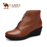 camel骆驼女靴 舒适百搭 圆头牛皮金属拉链短靴秋新款