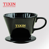 TIXIN/梯信 扇形102咖啡滤杯 手冲陶瓷过滤器 家用滴漏式冲泡杯 T35216黑色