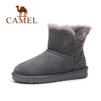 骆驼女鞋 羊皮毛一体雪地靴 加绒加厚短筒磨砂皮短靴