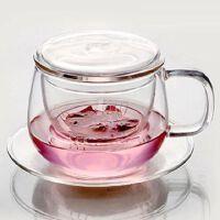 HEISOU 玻璃杯 耐热办公过滤花茶杯带盖 创意透明水杯子 CF-29