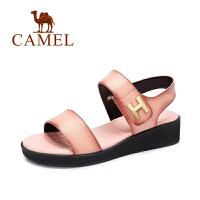 Camel/骆驼女鞋 时尚休闲 头层摔纹牛皮魔术贴中跟小坡跟凉鞋