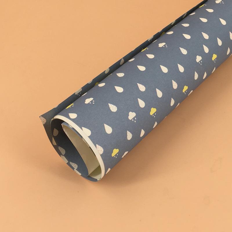 创意韩国可爱diy彩色包书皮纸礼品礼物折纸 包书纸_深蓝底雨滴
