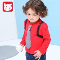 小猪班纳童装男宝宝长袖T恤2017秋装新款儿童圆领上衣男小童体恤