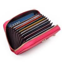 Yvonge韵歌牛皮真皮女士款卡包风琴式卡片包拉链卡夹卡套银行卡*包