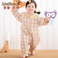 威尔贝鲁 纯棉婴儿睡袋 宝宝分腿睡袋 新生儿童防踢被 春夏秋款