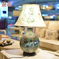 墨菲 欧式高端奢华彩绘陶瓷时尚创意手绘灯罩客厅卧室床头书房装饰台灯