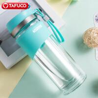 新款泰福高高硼硅炫彩双层茶隔玻璃杯 办公杯 车载杯玻璃水杯-绿色