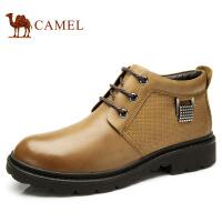 camel骆驼  秋冬新款牛皮日常休闲短筒系带皮靴潮男靴子