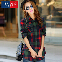BRIOSO 2017春装新款 时尚韩版修身中长款女式格子衬衫 对格磨毛长袖衬衫 街拍时尚百搭衬衣