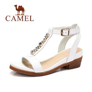骆驼女鞋 夏季新款凉鞋 牛皮水钻搭扣性感中跟方跟罗马凉鞋