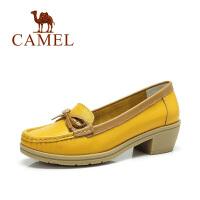 camel骆驼女鞋 春季新款单鞋牛皮粗跟蝴蝶结单鞋