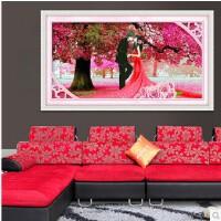 菲绣3D樱花树下的浪漫婚礼精准印花布十字绣套件结婚喜庆装饰挂画