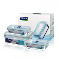 GLASS LOCK 三光云彩 韩国进口钢化玻璃乐扣水杯四面锁扣保鲜盒饭盒三件组GL06-LCGL0083