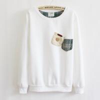 2017春秋新款日韩版贴布口袋加厚抓绒女式圆领套头卫衣绒衫T-1498