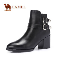 camel骆驼尖头短靴  粗跟高跟短筒女靴  秋冬新款女鞋时尚潮靴子
