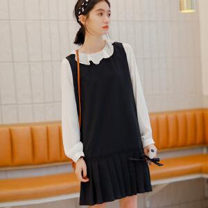 【满2件6折】白领公社 连衣裙 女士新款秋装韩版V领A字裙两件套女式薄款条纹背带裙子学生套装