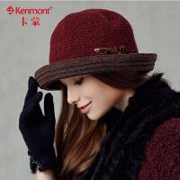 kenmont卡蒙女士帽子休闲盆帽卷边 小礼帽 女 英伦 复古2372