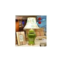 墨菲 欧式高端奢华铜制台灯现代客厅单色釉陶瓷创意手绘装饰台灯