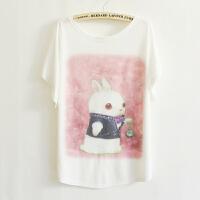 夏季新款女装日韩版休闲爱丽丝小白兔蝙蝠衫T恤 T-5639