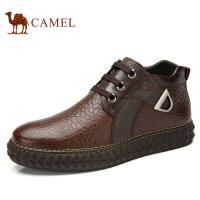 camel骆驼 休闲冬季潮流皮靴 新款 牛皮车缝线磨砂皮短筒男 82122600