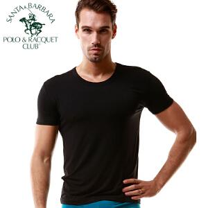 圣大保罗短袖T恤男士打底衫圆领背心纯色竹纤维薄款运动紧身潮男式汗衫性感弹力跑步健身青年修身夏季黑色白色  PU3008