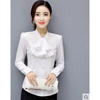 韩范韩版白衬衫长袖女士荷叶边工作服工装OL打底衬衣职业装雪纺衫  可礼品卡支付