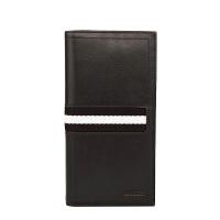巴利(BALLY)钱包竖款敞口黑色间白条男士牛皮长款钱包卡包手拿包TALIRO