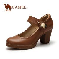 camel骆驼女鞋 2016春季新款粗跟单鞋优雅高跟圆头女鞋