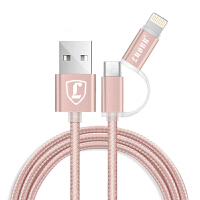 【包邮】洛倍尔/LUOBR 2合一 USB数据线 苹果数据线 充电线 2合1数据线 苹果安卓二合一数据线 手机数据线 手机线 安卓线 通用线 可爱线 粉色线 _玫瑰粉