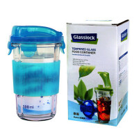 GLASS LOCK 三光云彩 玻璃 乐扣 水杯|茶杯|办公杯 带防烫硅胶套 彩盒装RC105A-蓝色 SG415-24