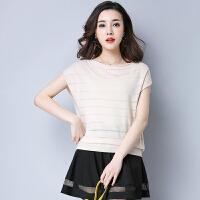 新款女装韩版纯色T恤女百搭时尚宽松圆领短袖上衣针织衫潮  可礼品卡支付