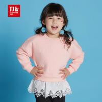 季季乐童装女小童长袖加绒卫衣秋季新款蕾丝花边上衣GQY63057