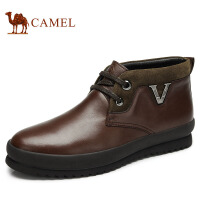 camel骆驼 牛皮绒毛保暖韩版潮流 冬季新款商务休闲短筒靴 82060611