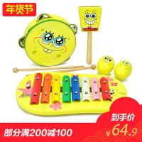 【特宝儿】海绵宝宝乐器五件套 婴儿玩具 敲琴 摇铃 手鼓 响板 沙球 婴儿音乐玩具 宝宝玩具