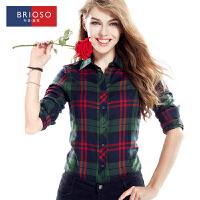BRIOSO 2017女装春季新品女式长袖格子衬衫 翻领 时尚百搭韩版修身格子衬衣 大码女装 WE12095