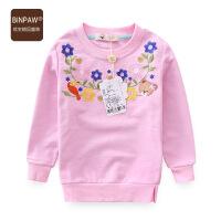 女宝宝卫衣 2017BINPAW童装女童秋装韩版套头运动全棉圆领长袖T恤