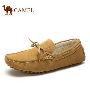 camel骆驼男鞋 新款磨砂 保暖绒里豆豆鞋 男