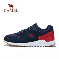 camel骆驼运动男款跑步鞋 透气缓震防滑反绒皮马拉松跑鞋