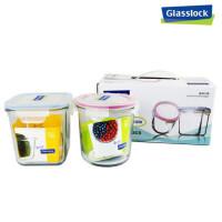 GlassLock/三光云彩 韩国进口玻璃乐扣保鲜盒可微波炉创意饭盒便当盒礼品装 两件组D2301