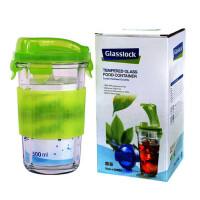 GLASS LOCK 三光云彩 玻璃 乐扣 水杯|茶杯|办公杯 带防烫硅胶套 彩盒装RC105A-绿色 SG414-24